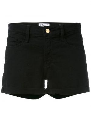 Хлопковые черные джинсовые шорты со стразами Frame