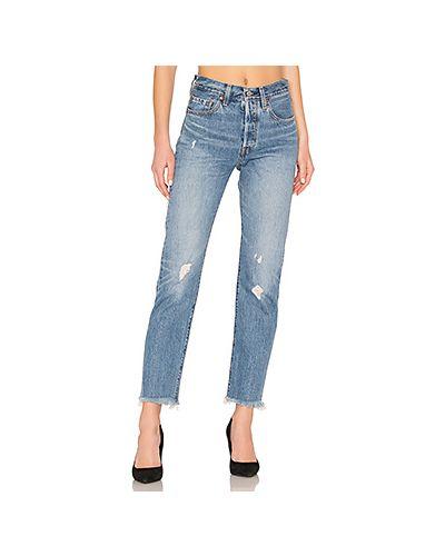 Прямые джинсы рваные синие Levi's®