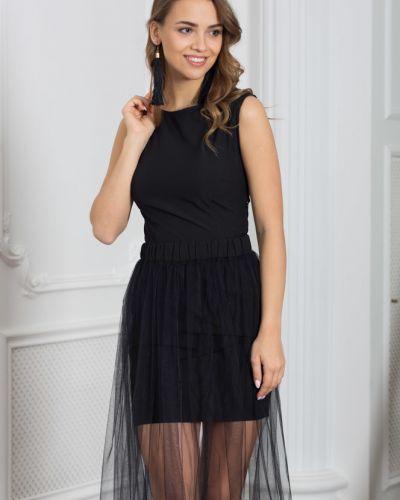 Платье мини сетчатое на резинке азалия