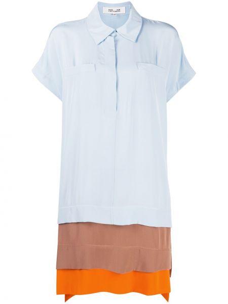 Шелковое классическое платье мини со вставками с воротником Dvf Diane Von Furstenberg