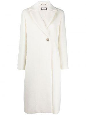 Белое шерстяное длинное пальто с воротником Peserico