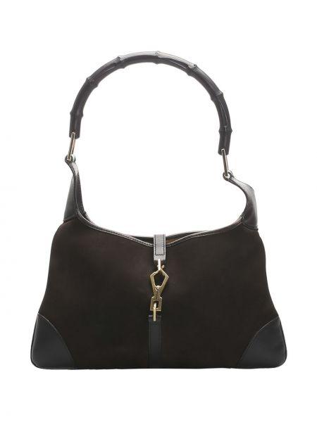 Коричневая парусиновая сумка на плечо на молнии с карманами Gucci Pre-owned