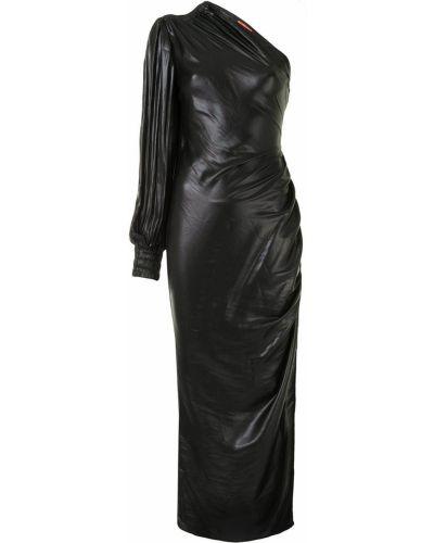 С рукавами асимметричное черное платье макси с драпировкой Manning Cartell