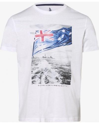 Biały t-shirt z printem miejski Andrew James Sailing