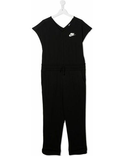 Хлопковый с рукавами черный комбинезон Nike Kids
