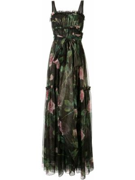Пышное вечернее платье с оборками без рукавов с вырезом Dolce & Gabbana
