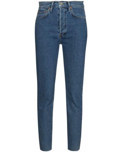 Niebieskie jeansy rurki bawełniane Re/done