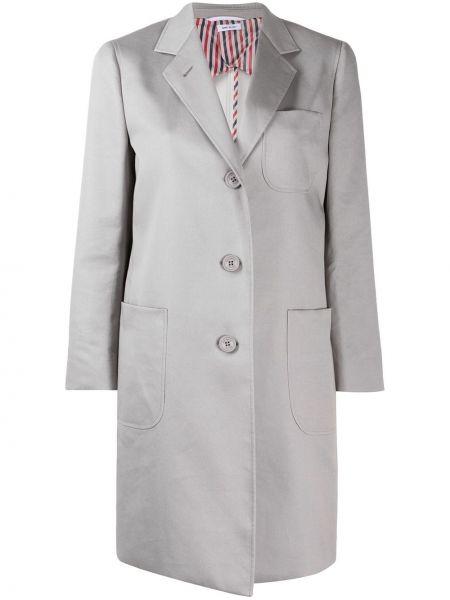 Серое пальто с карманами на пуговицах Thom Browne
