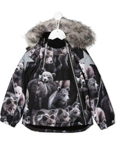 Акриловая черная куртка с капюшоном на молнии Molo