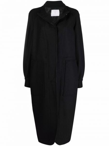 Шерстяное черное длинное пальто с воротником SociÉtÉ Anonyme