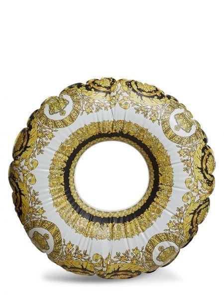 Żółty złoty pierścionek z printem Versace