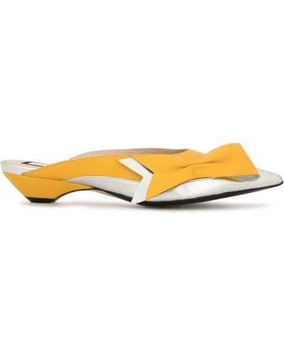 Мюли серебряный желтый N21
