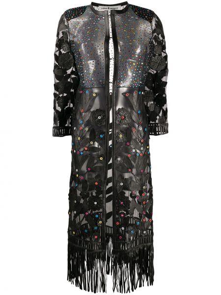 С рукавами черное пальто с бахромой с вырезом Caban Romantic