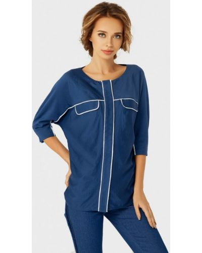 Блузка с коротким рукавом синяя Anushka By Anna Pavlova