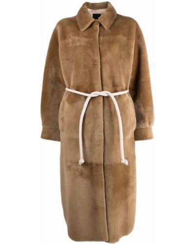 Коричневое длинное пальто Blancha