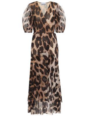 Платье с запахом сетчатое Ganni