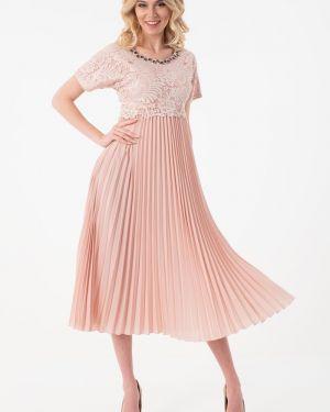 Вечернее платье серое персиковое Wisell
