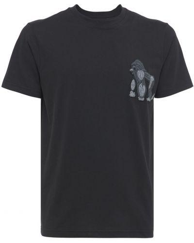 Czarny t-shirt bawełniany z haftem Lc23