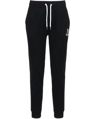 Prążkowane czarne joggery bawełniane Moschino Underwear