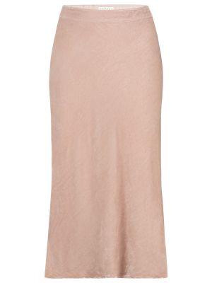 Шелковая юбка миди - розовая Velvet