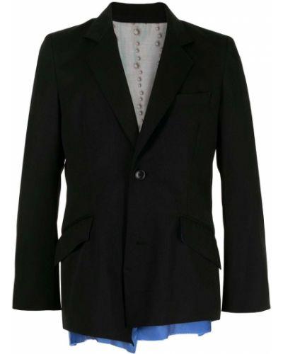 Czarna długa kurtka wełniana z długimi rękawami Sulvam