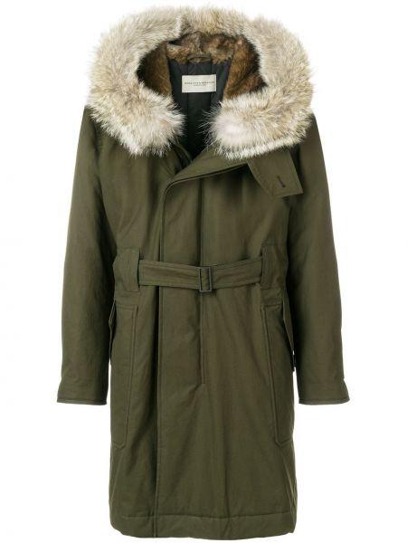 С рукавами зеленое длинное пальто с поясом на молнии Holland & Holland