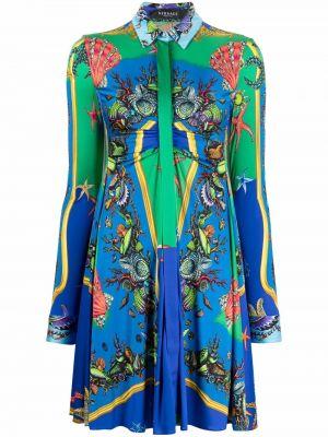 Платье рубашка - синее Versace