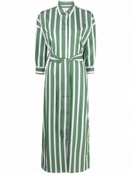 Зеленое платье-рубашка с поясом в полоску Sara Roka