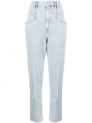 Bawełna niebieski jeansy z łatami z kieszeniami Isabel Marant