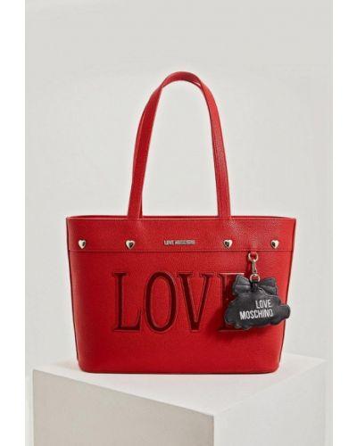 Кожаная сумка красная из искусственной кожи Love Moschino