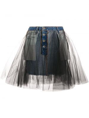 Синяя юбка из фатина с надписью на пуговицах Unravel Project