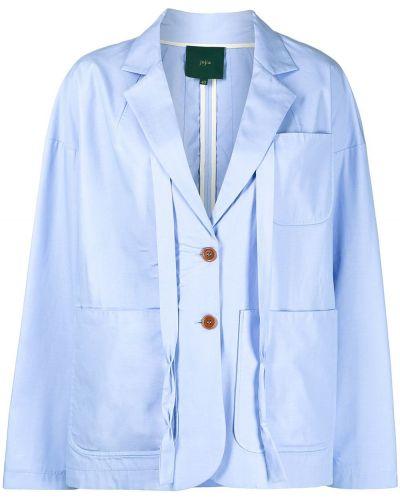 Синий удлиненный пиджак на пуговицах с лацканами Jejia