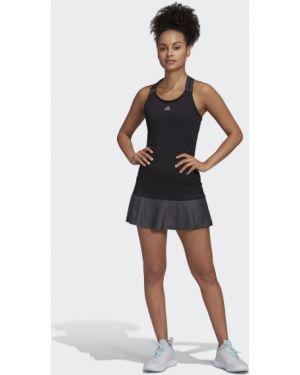 Черное мягкое спортивное теннисное платье Adidas