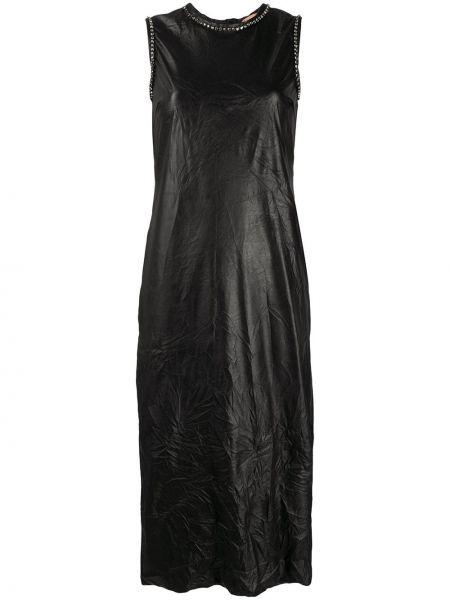 Черное платье миди на молнии без рукавов с вырезом N21
