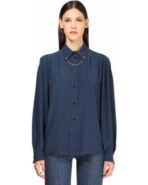 Шелковая синяя классическая рубашка с воротником Givenchy