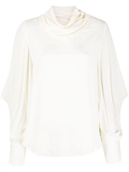 Белая шелковая прямая блузка с длинным рукавом с драпировкой Tela
