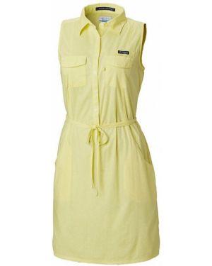 Желтое летнее платье без рукавов Columbia