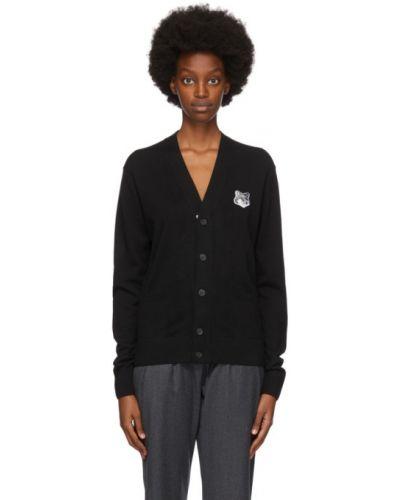 Черный кардиган с карманами с воротником с вышивкой Maison Kitsuné