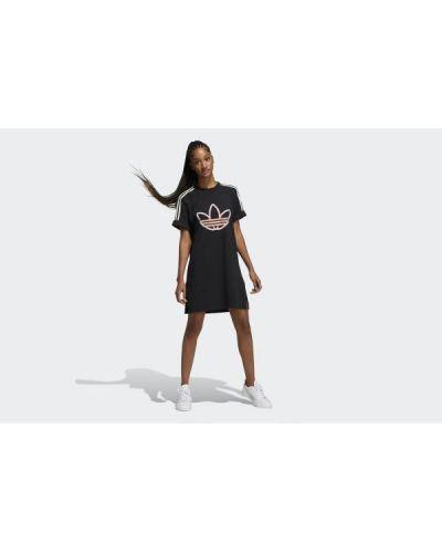 Sukienka mini bawełniana - czarna Adidas