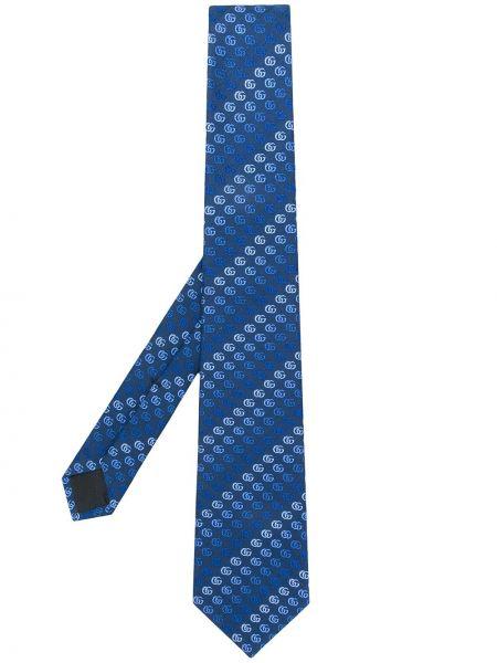 Синий классический галстук с вышивкой Gucci