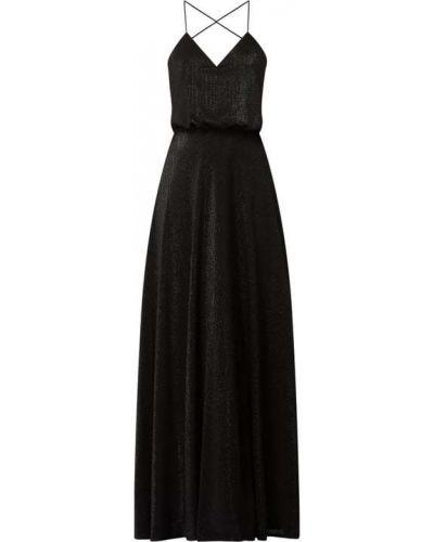Czarna sukienka wieczorowa rozkloszowana z dekoltem w serek Laona