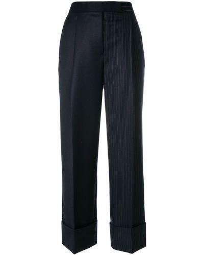 Свободные брюки в полоску с отворотами Thom Browne
