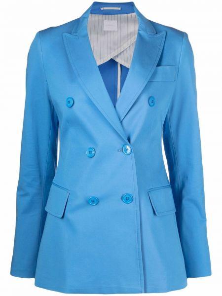 Синий удлиненный пиджак двубортный на пуговицах ..,merci