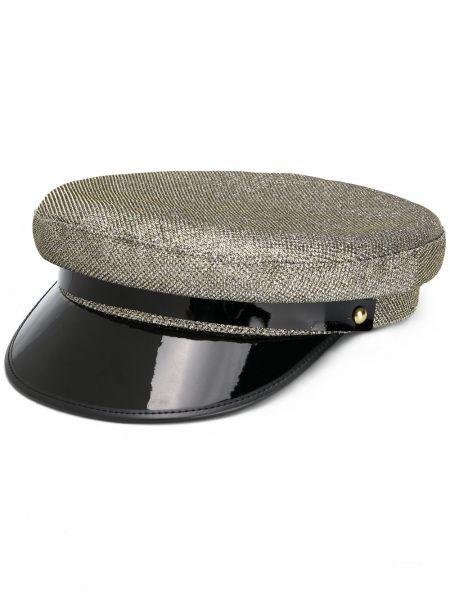 Золотистая кожаная черная шапка Manokhi
