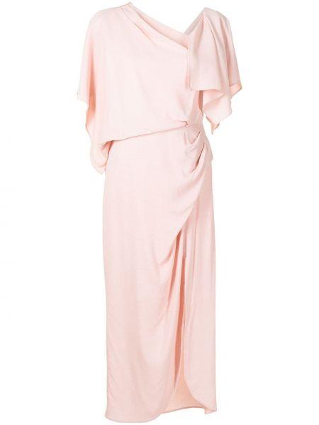Розовое платье миди с вырезом из вискозы Manning Cartell
