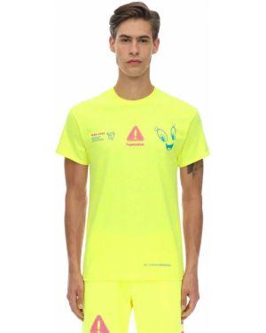 Prążkowany żółty t-shirt bawełniany Club Fantasy