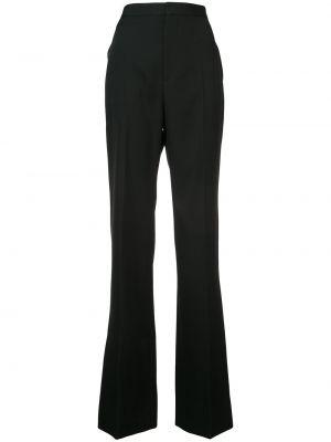 Wełniany czarny szerokie spodnie z kieszeniami bezpłatne cięcie Givenchy
