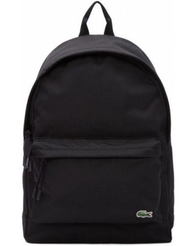 Czarny plecak na laptopa skórzany z haftem Lacoste