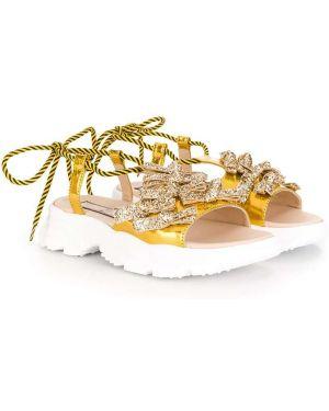 Желтые кожаные кроссовки на шнуровке N°21