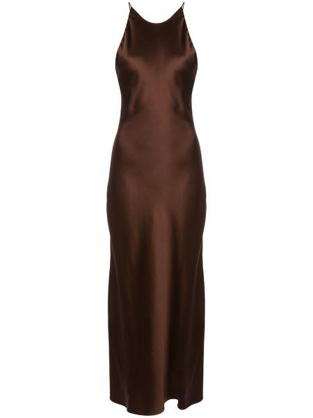 Коричневое тонкое платье на бретелях с вырезом Rosetta Getty